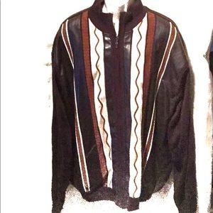 (Bagazio) Sz XXL faux leather zip-up sweater RETRO